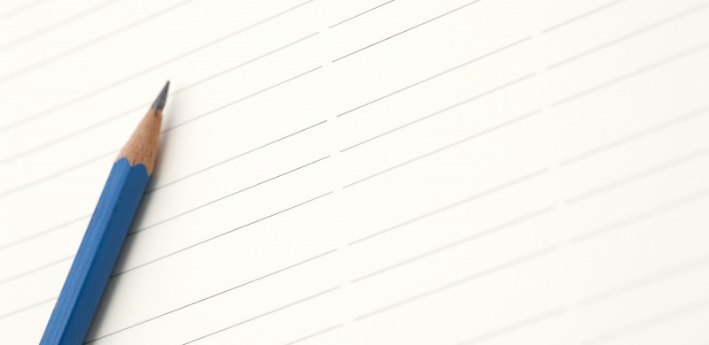pencil on lined paper