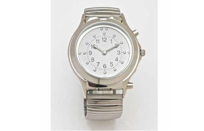 Braille Talking Watch White Face Silver Band