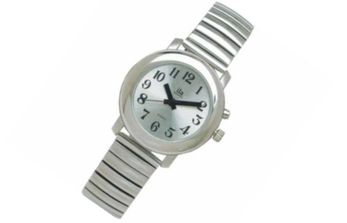 Talking Watch White Face Silver Band