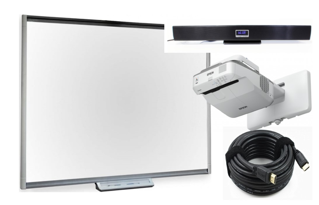 77″ Interactive SMART Board and Ultra Short Throw Projector Bundle